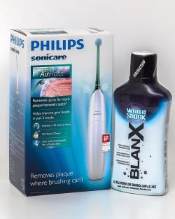 Промоция: Орален душ Philips Airfloss HX8211/02 + вода за уста BlanX® WhiteShock Whitening Mouthwash